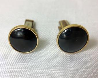 PIONEER Cuff Links/Unisex Cufflinks/Round Black Stone/Minimalist Jewelry/50's Unisex Jewelry/Valentine Gift/Wedding Jewelry/Gold Tone Links