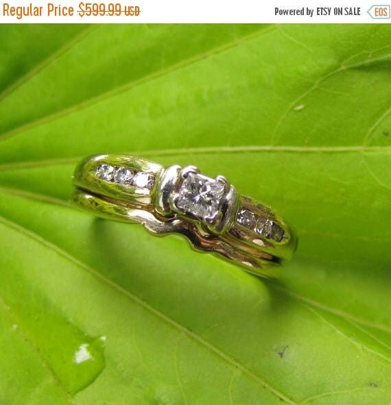 DEADsy LAST GASP SALE 7 Diamond Vintage Engagement Ring - 14K Gold and Vs Princess Cut Stones - Channel Wedding Set, Size 5 or 6