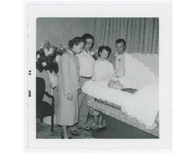 Vintage Photo Snapshot: Mourners View Deceased in Open Casket, 1956 (77590)