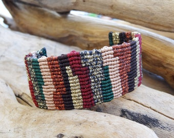Patchwork Macrame Bracelet,Handknotted Wristband,Boho Jewelry,Handwoven Wide Cuff,Metallic Waxed Thread,Coloful Bracelet, Hippie Style