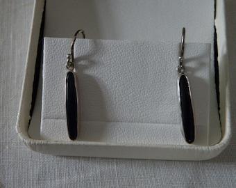 Sterling Silver Cobalt Blue Art Glass Earrings - Signed