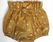 Mustard High Waisted Cotton Bloomers Shorties Made to Order for sizes 3 months - 5T Bow in Front