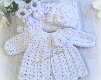 Pure White Baby Gift Set - Sweater/blanket/Booties/Beanie - Baptism, Christening, Blessing - Coming Home Set