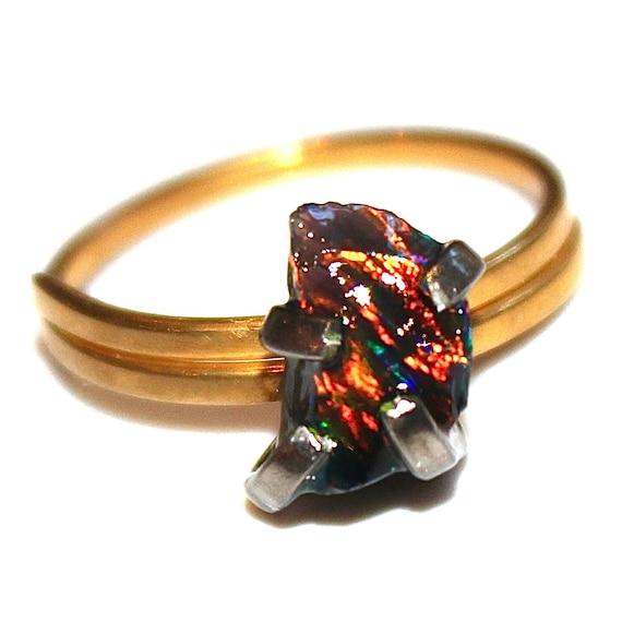 Rustic Black Opal Ring Raw Opal Ring Free Form Ring Black Opal Jewelry Prong Set Opal Ring Dark Opal Black Gold Ring Raw Stone