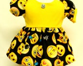 Emoji Print Dress For 16 Inch Doll Like Bitty Baby