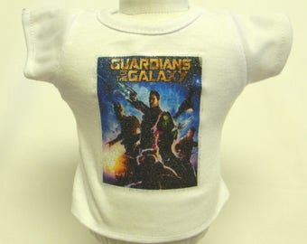 Guardians Of The Galaxy Silver Glitter Transfer T-Shirt For 16 or 18 Inch Dolls Like The American Girl Or Bitty Baby