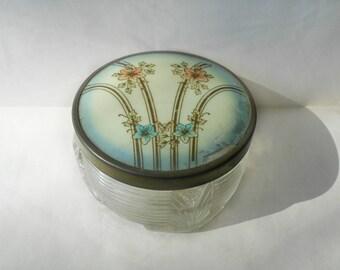 Vintage Glass Vanity Jar Celluloid Art Deco Footed