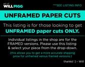 UNFRAMED Paper Cuts Art of Will Pigg Will Pigg paper art Star wars Disney Harry Potter Alice in Wonderland Zelda movies animations