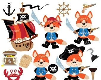 ON SALE INSTANT Download. Cpf_2_Pirate_fox. Pirates fox clip art. Personal and commercial use.