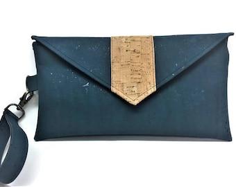 Cork Wallet,  iPhone Wallet, Cork Handbag, Wristlet, Wristlet Wallet, Cork Bag, Cork Clutch, Cork Purse, Teal Green Wristlet, Gift for Her