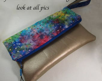 Clutch Bag - Multi Color Batik Fabric - Great Gift Idea - Evening Bag - Handbag Wristlet Bag with Gold Leather Like Accent and Strap