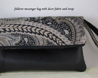 Clutch Bag - Decor Fabric - Great Gift Idea - Strap Evening Bag - Handbag - Wristlet Bag with Black Faux Leather - Purse Foldover Messenger