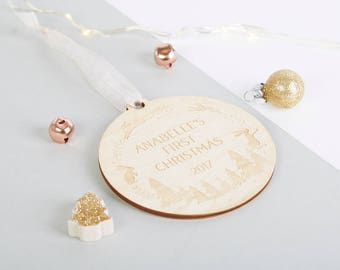 Baby's First Christmas Rustic Wooden Decoration