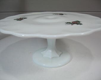 Milk Glass Cake Stand, Christmas Cake Plate, Hollyberry, Cake Pedestal, Cookie Stand, Dessert Stand