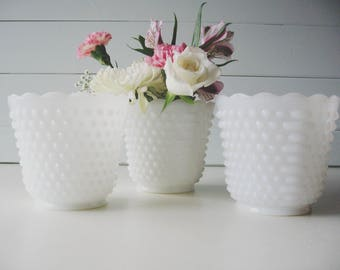 Hobnail Milk Glass Bowls, Planters, Wedding, Set of Three, Candy Dishes