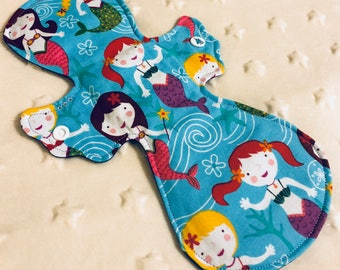 "11"" heavy absorbency cotton top mermaid print cloth pad"