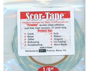 """SCORTAPE  1/8""""  Wide  TAPE DOUBLESiDED - 0.125""""   for Scrapbooking and Cards- Premium crafting tape"""