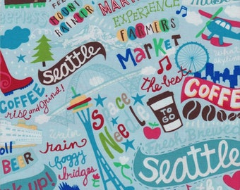 Seattle, Timeless Treasures Fabric, Gail Cadden, Seattle Tossed Print