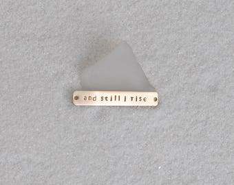 Maya Angelou:  and still i rise Gold Bar Necklace
