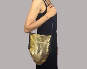 EGGBAG handbag gold, silver, copper  JACRON Crossover BAG
