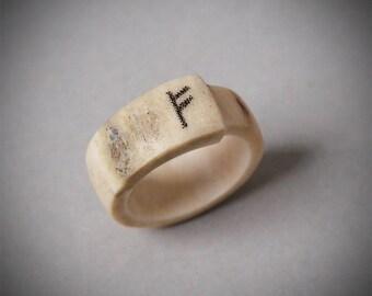 Size 6,5 US, Antler jewelry, Antler ring, Rune Fehu, Viking rune, Rune ring, Fehu rune, Viking jewelry, Nordic ring, Nordic jewelry, Bone