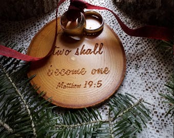 RUSTIC Ring Pillow-The Two Shall Become One Engraved-Wooden Ring Bearer Pillow Matthew 19:5-Weddin Rings-Wood-Maple-Tree Branch Slice
