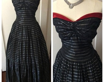 SALE Black 1940s floor length strapless gown with silver stripes and red velvet trim.  S - M