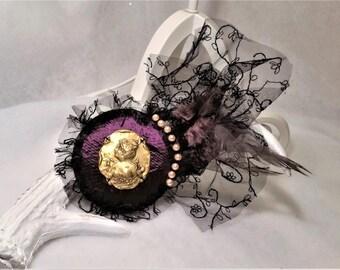 Fascinator mini hat purple and gold Victorian