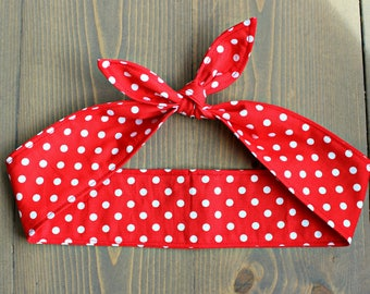 Rosie the Riveter Costume, Rockabilly Knotted Hair Tie, Rosie Wrap, Red with White Polka Dots, Pin Up, Retro, Vintage, 50s style, 40s
