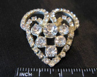 White Rhinestone Brooch Pin, Vintage Costume Jewelry Clear Sparkle