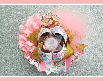 Princess Hair Bow...Girls Hair Bow..OTT Hair Bow..Pink and Gold bow...Gold and pink Hair bow