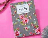 Academic Diary 2017 / 2018 A5 Hardback Fabric Covered Week to View Grey Floral