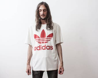 Vintage Adidas T-Shirt Summer White Shirt Adidas Originals Trefoil