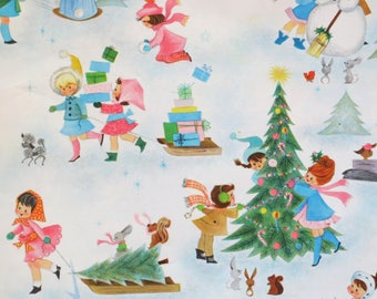Vintage Hallmark Juvenile CHRISTMAS Gift Wrap - Wrapping Paper - GIRLS Playing Outside - PARTIAL Sheet - 1960s