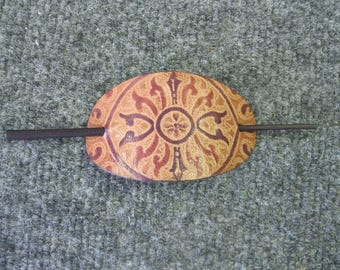 Leather hand tooled Hair Pin