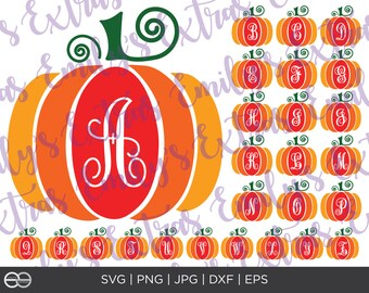 Pumpkin Monogram Initial SVG File, Silhouette, Cricut, Pumpkin Monogram Cut Files, dxf, eps, jpg, png, Halloween File, Fall File