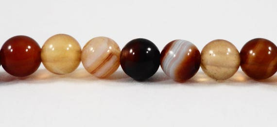 4mm Brown Agate Beads, 4mm Round Agate Stone Beads, Striped Agate Gemstone Beads, Small Banded Agate Beads, 45 Loose Beads per Pack