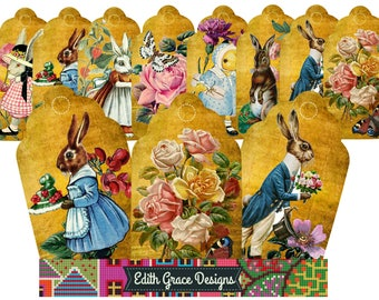 Victorian Printable Gift Tags, Digital Download, Easter Decorations, Birthday, Gifts, Bunny, Chick, Clipart, Scrapbooking, Cardmaking, Eggs