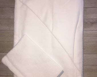 White Terry Hooded Towel and Bath Glove Set - For Infants and Toddlers