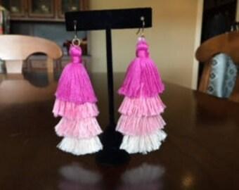 Pink ombre tassel fringe earrings