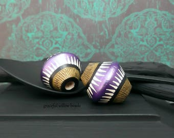 Painted Wood Bicone Focal Bead - Purple Black Brass Ivory Stripe - Moroccan Style Focal Bead - 23mm - Pkg. 2