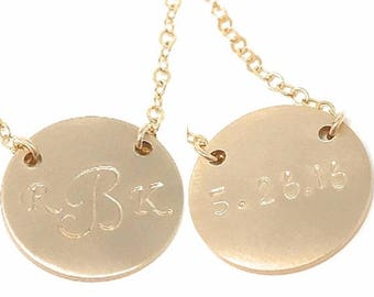 SALE - Initial necklace with date on the back - Double Sided Initial Necklace  - Personalized Jewelry