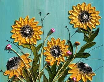 Original Modern Yellow Sunflowers  Acrylic  Heavy  Impasto Palette Knife   Painting .