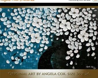 SALE Original Modern  White Flowers Acrylic Heavy  Impasto  Painting  size 36 x 24.