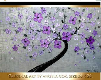 SALE Original Modern  Purple Blossom Tree Abstract   Acrylic Landscape Palette Knife   Impasto Textured   Painting. Size 36 x 24.