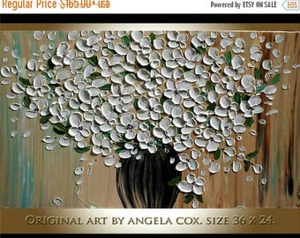 SALE Original Modern  White  Flowers  Bouquet  Heavy  Impasto Texture Palette Knife Acrylic   Painting .Made2Order..