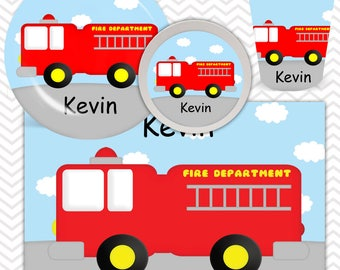 Fire Truck Plate, Bowl, Cup, Placemat - Personalized Fire Truck Dinnerware for Kids - Custom Tableware