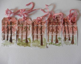 Gift Tags- Sunset Forest, Watercolor Painted tags,  miniature paintings, forest  tags, hostess tags, Fine Art Watercolor Paintings