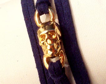 Navy Blue Suede skull zamak gold plated Bracelet Watch: