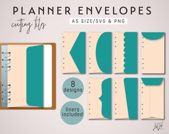A5 PLANNER ENVELOPES Cutting Files – Die Cutting Files Set (8 Designs) -  svg and png